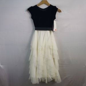 Us Angels Dresses - US ANGELS FLOWER GIRL DRESS IN BLACK AND IVORY 8